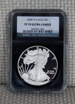 2008 - W Pf70 Ucam American Silver Eagle Ase Ngc (black Slab) - - S&h photo