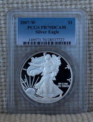 2007 - W Pr70 Dcam American Silver Eagle Ase Pcgs photo