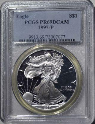 1997 - P American Eagle Silver Dollar Pr69 Dcam Pcgs Proof 69 Deep Cameo photo