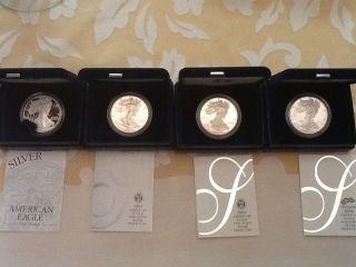 4 Silver Eagle Proofs 03 - 04 - 05 - 06 photo