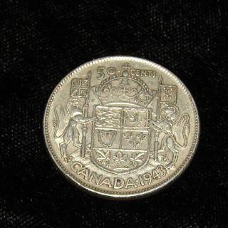 1943 Canada Silver 50 Cent Half Dollar Coin 12 Grams/80% Silver photo