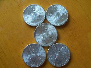 5x 1985 Mexico Libertad 1 Oz.  999 Silver Bu Coin photo