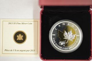 2013 Canada $5 1 Oz.  9999 Fine Silver Maple Leaf 25th Anniversary Gold Plating photo
