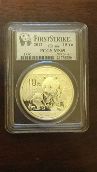 2012 1 Oz.  999 Fine Silver Chinese Panda Coin (ms - 69) Pcgs photo