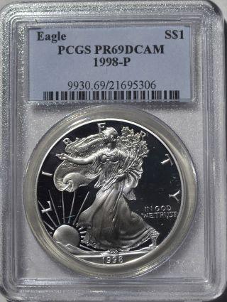 1998 - P American Eagle Silver Dollar Pr69 Dcam Pcgs Proof 69 Deep Cameo photo