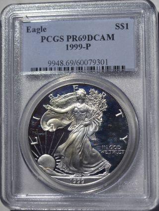 1999 - P American Eagle Silver Dollar Pr69 Dcam Pcgs Proof 69 Deep Cameo photo