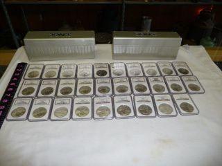 1986 - 2014 Uncirculated Silver Eagles Ngc Ms 69 - (2011 - 25th Ann) & (2013 - San Fran) photo