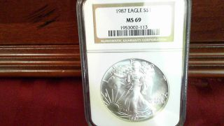 1987 $1 U.  S.  Silver Eagle Ms 69 Ngc Graded - - 2nd Year Of Series photo