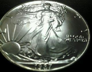 1987 1oz.  999 Fine Silver Eagle Bullion Coin Proof - Like Appearance photo