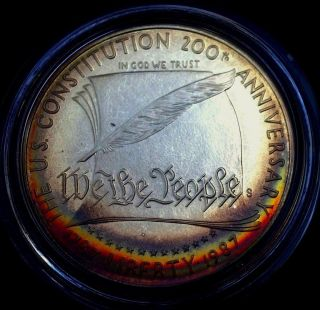 1987 - S Proof Silver U.  S.  Constitution $1 Rainbow Toned Dcam - Never Been Handled photo