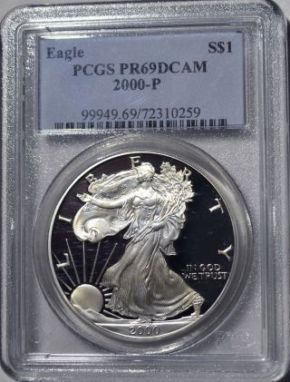2000 - P American Eagle Silver Dollar Pr69 Dcam Pcgs Proof 69 Deep Cameo photo