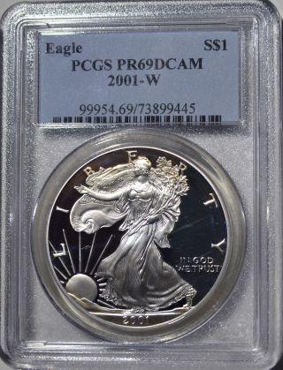 2001 - W American Eagle Silver Dollar Pr69 Dcam Pcgs Proof 69 Deep Cameo photo