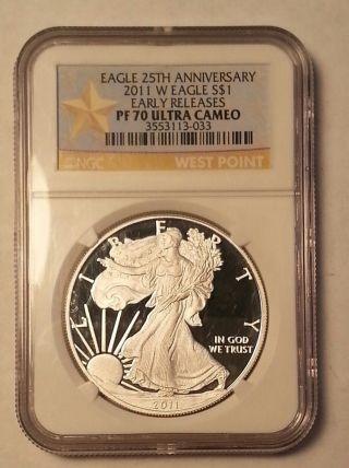2011 W American Eagle Pf 70 Ultra Cameo Early Release,  25th Anniversary. . .  4141 photo