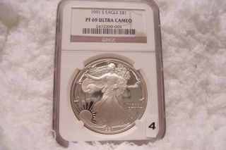 1991 S Silver Eagle S$1 Ngc Pf69 Ultra Cameo photo