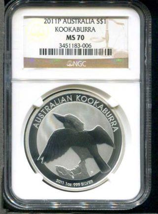 2011 P Australian Kookaburra Silver Dollar 1 Oz.  999 Fine Silver Ngc Ms - 70 photo