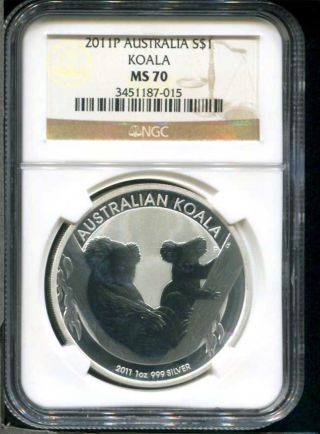 2011 P Australian Koala Silver Dollar 1 Oz.  999 Fine Silver Ngc Ms - 70 photo