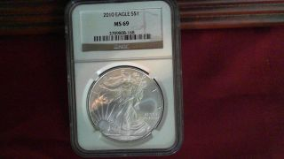 2010 American Silver Eagle Ngc Ms69 Brown / Gold Label Premium Quality Coin photo