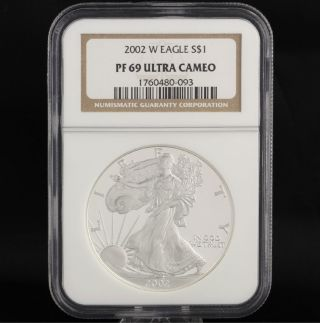 2002 W American Silver Eagle Ngc Pf69 Ultra Cameo 1oz.  999 One Dollar Ase Coin photo