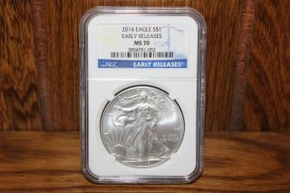 2014 American Silver Eagle S$1 Early Release Ngc Ms 70 1oz photo