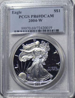 2004 - W American Eagle Silver Dollar Pr69 Dcam Pcgs Proof 69 Deep Cameo photo