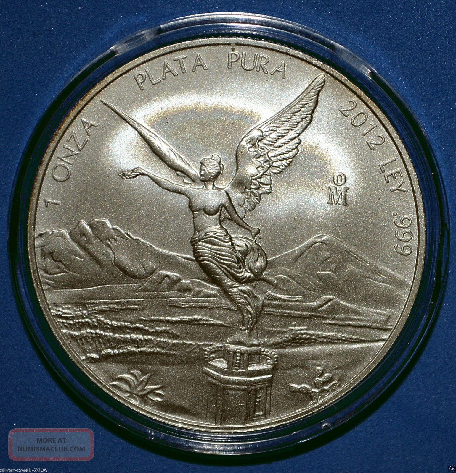 2012 Mexican Libertad 1 Oz 999 Pure Silver Coin Brilliant
