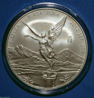 2012 Mexican Libertad 1 Oz.  999 Pure Silver Coin Brilliant Uncirculated photo