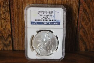 2014 Tokelau Lunar Year Of The Horse Silver S$5 Early Releases Ngc Ms 70 1oz photo