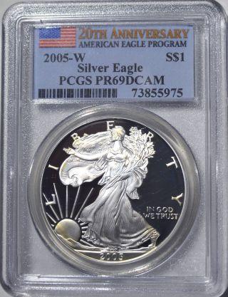 2005 - W American Eagle Silver Dollar Pr69 Dcam Pcgs Proof 69 Deep Cameo 20thanniv photo