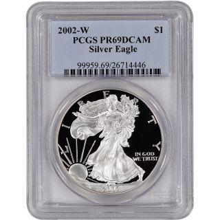 2002 - W American Silver Eagle Proof - Pcgs Pr69 Dcam photo
