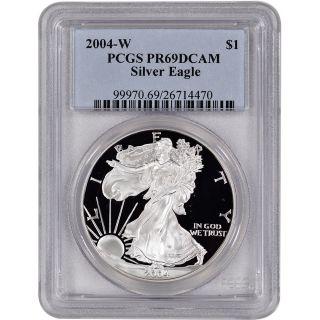 2004 - W American Silver Eagle Proof - Pcgs Pr69 Dcam photo