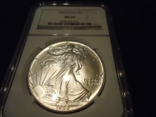 One 1986 Silver Us American Eagle 1 Ounce.  999 - Ngc Ms 69 photo