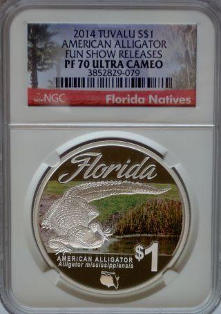 Ngc Registry 2014 Tuvalu American Alligator $1 Pf70 Rare Florida Silver 1oz photo