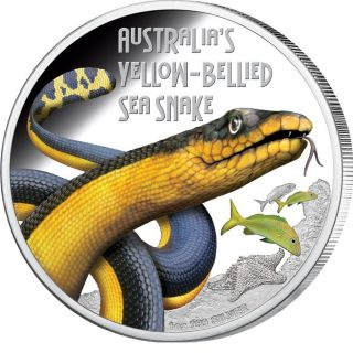 Deadly And Dangerous - Yellow - Bellied Sea Snake 2013 1oz Silver Coin photo