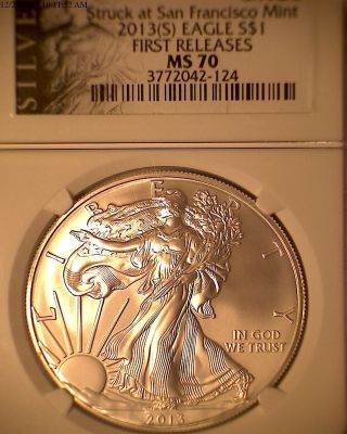 2013 (s) Silver Eagle,  Ms 70 First Releases Perfet Coin.  Ngc 3772042 - 124 photo