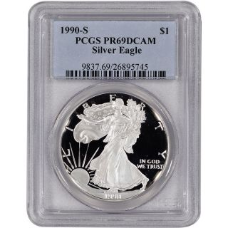 1990 - S American Silver Eagle Proof - Pcgs Pr69 Dcam photo