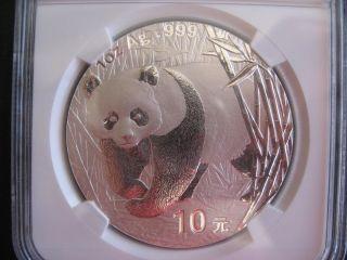 Bu Ms69 Ngc Certified 2001 China Panda 10 Yuan Silver Bullion Coin, .  999 Silver photo