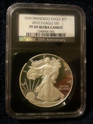 2012 S 1oz American Silver Eagle Proof Pf69 Ultra Cameo photo