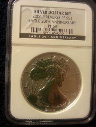 2006 W 1oz American Silver Eagle Reverse Proof Pf69 photo