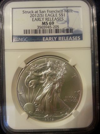 2012 [s] 1oz American Silver Eagle Ms69 Early Releases photo