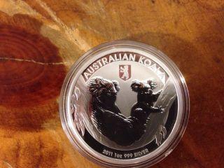 2011 Australian Mother Koala & Baby Joey 1 Oz. .  999 Silver Coin Berlin Privy photo