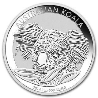2014 - P 1 Oz Silver Australian Koala Coin - Brilliant Uncirculated.  Encapsulated photo