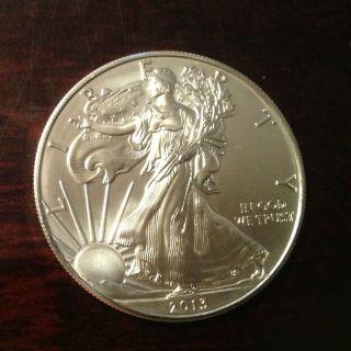 1 - 2013 Brilliant Uncirculated Silver Eagle -.  999 Fine Silver - Very Sharp Coin photo