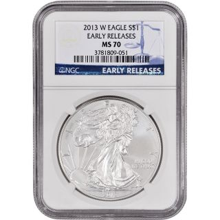 2013 - W American Silver Eagle Uncirculated Burnished - Ngc Ms70 - Early Releases photo