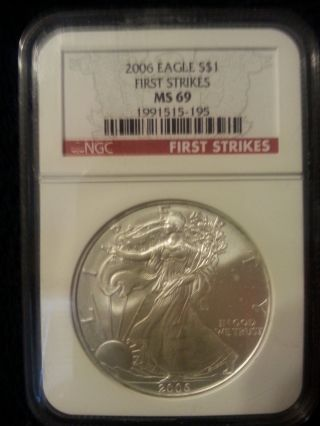 2006 1oz American Silver Eagle Ms69 First Strikes photo