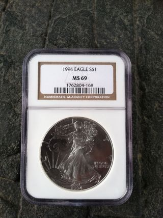 Silver Eagle Dollar 1994 Ngc Ms 69 Key Date 2nd Rarest One Day Aution Only photo