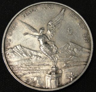 1997 Mexico Silver 1/2 Onza Coin.  999 Fine Silver Nr photo