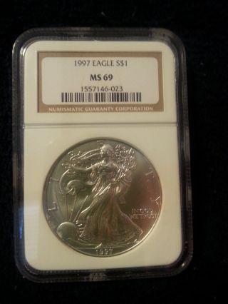 1997 1oz American Silver Eagle Ms69 photo