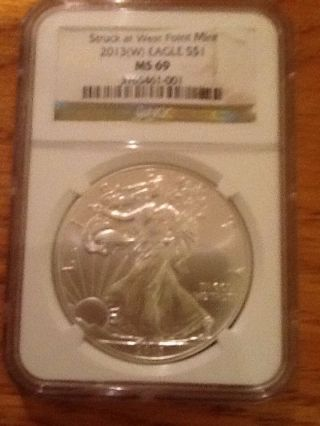2013 W American Silver Eagle Ngc Ms - 69 Brown Label Struck At West Point photo