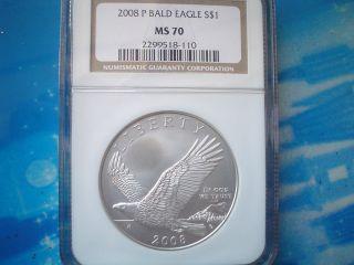 Look 2008 P Bald Eagle Ngc Ms70 1 Oz Silver Coin,  & Perfect Coin photo
