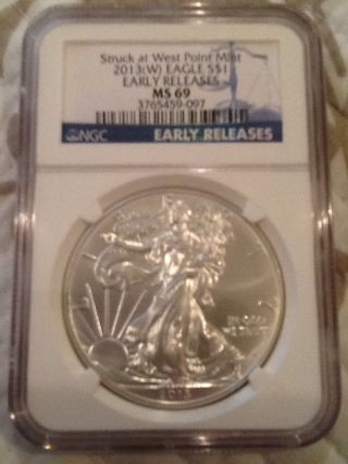 2013 (w) Ngc Ms - 69 American Silver Eagle Early Releases Special Blue Label photo